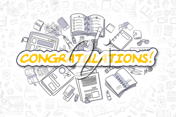 Doodle Illustration of Congratulations, Surrounded by Stationery. Business Concept for Web Banners, Printed Materials.