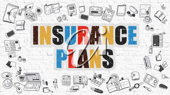 Insurance Plans Concept. Modern Line Style Illustration. Multicolor Insurance Plans Drawn on White Brick Wall. Doodle Icons. Doodle Design Style of Insurance Plans Concept.