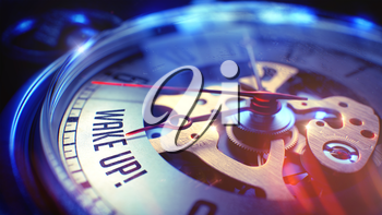 Wake Up. on Pocket Watch Face with Close View of Watch Mechanism. Time Concept. Light Leaks Effect. Vintage Pocket Clock Face with Wake Up Text on it. Business Concept with Vintage Effect. 3D.