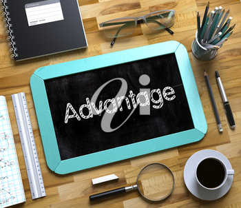 Mint Small Chalkboard with Handwritten Business Concept - Advantage - on Office Desk and Other Office Supplies Around. Top View. Small Chalkboard with Advantage Concept. 3d Rendering.