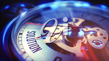 Watch Face with Solution Phrase, Close View of Watch Mechanism. Business Concept. Light Leaks Effect. 3D Render.