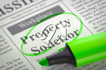 Newspaper with Classified Advertisement of Hiring Property Solicitor. Blurred Image. Selective focus. Job Search Concept. 3D Illustration.