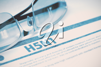 H5N1 - Virus - Printed Diagnosis with Blurred Text on Blue Background with Pair of Spectacles. Medical Concept. 3D Rendering.