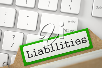 Liabilities. Green Folder Index Overlies Modern Keyboard. Archive Concept. Close Up View. Selective Focus. 3D Rendering.