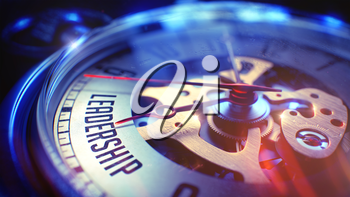 Leadership. on Pocket Watch Face with CloseUp View of Watch Mechanism. Time Concept. Film Effect. 3D Render.