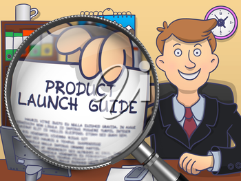 Product Launch Guide on Paper in Man's Hand to Illustrate a Business Concept. Closeup View through Lens. Colored Modern Line Illustration in Doodle Style.