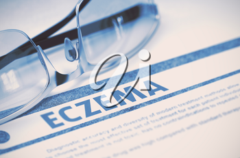 Eczema - Medicine Concept with Blurred Text and Specs on Blue Background. Selective Focus. 3D Rendering.