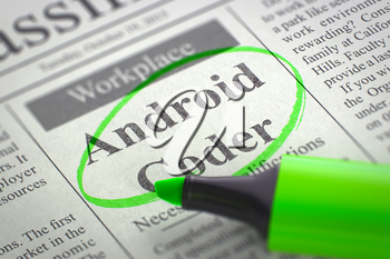 Android Coder - Small Advertising in Newspaper, Circled with a Green Marker. Blurred Image. Selective focus. Job Seeking Concept. 3D Rendering.