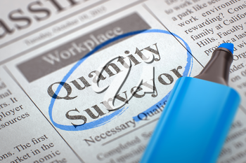 A Newspaper Column in the Classifieds with the Small Advertising of Quantity Surveyor, Circled with a Blue Marker. Blurred Image with Selective focus. Job Search Concept. 3D Render.