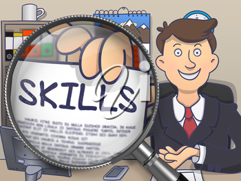 Skills. Paper with Inscription in Businessman's Hand through Magnifying Glass. Colored Doodle Style Illustration.