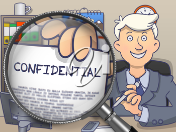 Business Man Welcomes in Office and Showing a Concept on Paper Confidential. Closeup View through Magnifier. Colored Doodle Illustration.