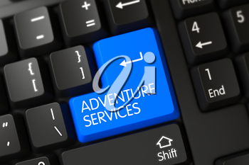 Adventure Services Button on PC Keyboard. 3D Illustration.