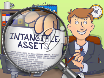 Intangible Assets on Paper in Officeman's Hand to Illustrate a Business Concept. Closeup View through Magnifier. Multicolor Modern Line Illustration in Doodle Style.