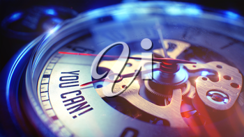 Watch Face with You Can Text on it. Business Concept with Film Effect. You Can. on Pocket Watch Face with Close Up View of Watch Mechanism. Time Concept. Light Leaks Effect. 3D Render.