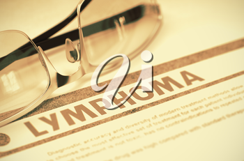 Diagnosis - Lymphoma. Medical Concept on Red Background with Blurred Text and Eyeglasses. Selective Focus. 3D Rendering.