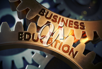 Business Education on the Golden Cog Gears. Business Education on the Mechanism of Golden Cog Gears with Glow Effect. 3D Rendering.