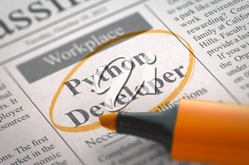 A Newspaper Column in the Classifieds with the Jobs Section Vacancy of Python Developer, Circled with a Orange Marker. Blurred Image with Selective focus. Hiring Concept. 3D Illustration.