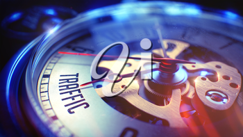 Pocket Watch Face with Traffic Text on it. Business Concept with Film Effect. Vintage Watch Face with Traffic Text, Close View of Watch Mechanism. Business Concept. Light Leaks Effect. 3D Render.