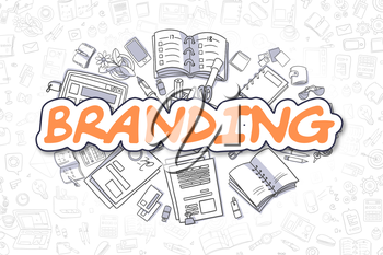 Branding Doodle Illustration of Orange Inscription and Stationery Surrounded by Cartoon Icons. Business Concept for Web Banners and Printed Materials.