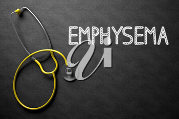 Medical Concept - Emphysema Handwritten on Black Chalkboard. Top View Composition with Chalkboard and Yellow Stethoscope. Medical Concept: Emphysema Handwritten on Black Chalkboard. 3D Rendering.