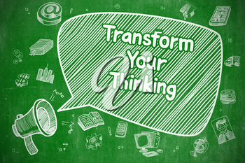 Transform Your Thinking on Speech Bubble. Hand Drawn Illustration of Yelling Loudspeaker. Advertising Concept.