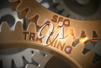 SEO Training on Mechanism of Golden Cog Gears with Lens Flare. Golden Metallic Cogwheels with SEO Training Concept. 3D Rendering.