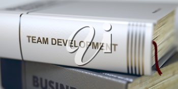 Team Development. Book Title on the Spine. Business Concept: Closed Book with Title Team Development in Stack, Closeup View. Toned Image with Selective focus. 3D.