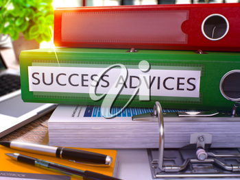 Green Ring Binder with Inscription Success Advices on Background of Working Table with Office Supplies and Laptop. Success Advices Business Concept on Blurred Background. 3D Rendering.