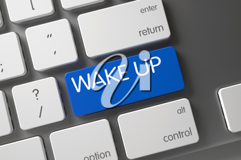 Wake Up Concept Aluminum Keyboard with Wake Up on Blue Enter Keypad Background, Selected Focus. 3D Render.