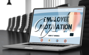 Employee Motivation Concept. Closeup Landing Page on Mobile Computer Screen on Background of Conference Hall in Modern Office. Toned. Blurred Image. 3D Render.
