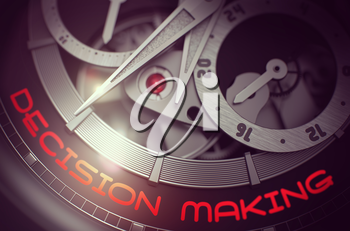 Vintage Wristwatch with Decision Making Inscription on Face. Decision Making on Vintage Wrist Watch Detail, Chronograph Close Up. Time Concept with Glow Effect and Lens Flare. 3D Rendering.