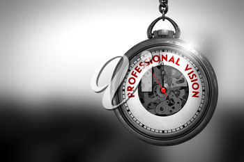 Professional Vision on Pocket Watch Face with Close View of Watch Mechanism. Business Concept. Professional Vision Close Up of Red Text on the Pocket Watch Face. 3D Rendering.