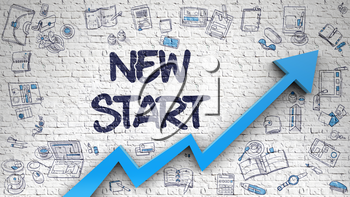 New Start - Success Concept. Inscription on the White Wall with Doodle Design Icons Around. New Start Inscription on the Modern Illustation. with Blue Arrow and Hand Drawn Icons Around.