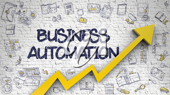 Business Automation - Success Concept with Doodle Icons Around on Brick Wall Background. Business Automation - Business Concept. Inscription on White Brickwall with Doodle Design Icons Around.