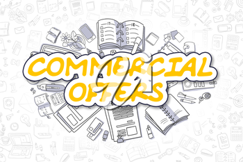 Commercial Offers Doodle Illustration of Yellow Word and Stationery Surrounded by Cartoon Icons. Business Concept for Web Banners and Printed Materials.