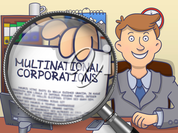 Multinational Corporations on Paper in Officeman's Hand to Illustrate a Business Concept. Closeup View through Magnifier. Multicolor Doodle Style Illustration.