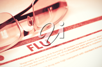 Diagnosis - Flu. Medicine Concept on Red Background with Blurred Text and Specs. Selective Focus. Flu - Medical Concept with Blurred Text and Glasses on Red Background. Selective Focus. 3D Rendering.