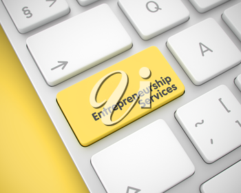 Business Concept: Entrepreneurship Services on the Modern Computer Keyboard lying on Yellow Background. Business Concept: Entrepreneurship Services on White Keyboard Background. 3D Render.