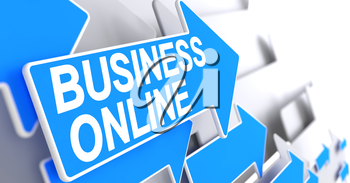 Business Online, Inscription on the Blue Cursor. Business Online - Blue Arrow with a Message Indicates the Direction of Movement. 3D Render.
