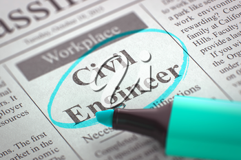 Civil Engineer. Newspaper with the Jobs Section Vacancy, Circled with a Azure Highlighter. Blurred Image. Selective focus. Job Search Concept. 3D Render.