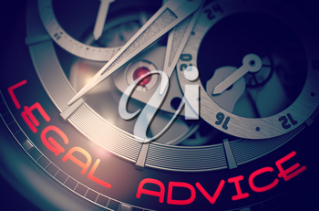 Legal Advice on the Face of Luxury Pocket Watch, Chronograph Close Up. Legal Advice on the Elegant Wristwatch, Chronograph Close-Up. Business and Work Concept with Glowing Light Effect. 3D Rendering.