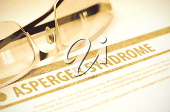Asperger Syndrome - Medical Concept on Red Background with Blurred Text and Composition of Eyeglasses. 3D Rendering.