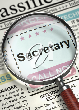 Magnifier Over Newspaper with Small Ads of Job Search of Secretary. Newspaper with Jobs Section Vacancy Secretary. Job Search Concept. Blurred Image. 3D Render.