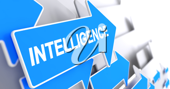 Intelligence, Label on the Blue Arrow. Intelligence - Blue Arrow with a Text Indicates the Direction of Movement. 3D Render.