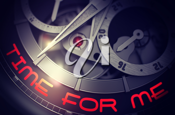Time For Me on Elegant Wrist Watch, Chronograph Closeup. Time For Me on the Luxury Wrist Watch Detail, Chronograph Close Up. Work Concept Illustration with Glow Effect and Lens Flare. 3D Rendering.