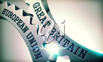 Great Britain European Union on Mechanism of Metal Cogwheels with Glowing Light Effect - Interaction Concept. Metallic Gears with Great Britain European Union Text. 3D Illustration.