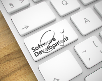 Software Development Key on Modern Computer Keyboard. Service Concept with Modern Enter White Key on the Keyboard: Software Development. 3D Illustration.