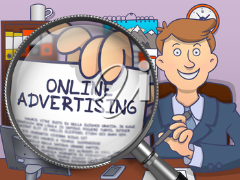 Online Advertising through Magnifying Glass. Business Man Holding a Paper with Inscription. Closeup View. Colored Doodle Illustration.