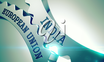India European Union - Communication Concept. India European Union on the Metallic Cog Gears, Communication Illustration with Glow Effect. 3D Illustration.
