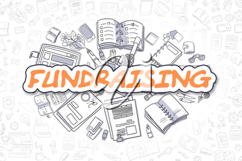 Fundraising Doodle Illustration of Orange Inscription and Stationery Surrounded by Doodle Icons. Business Concept for Web Banners and Printed Materials.